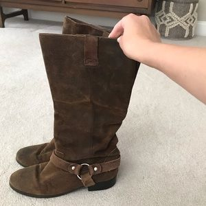 Dolce Vita Brown Slouchy Suede Motorcycle Boots